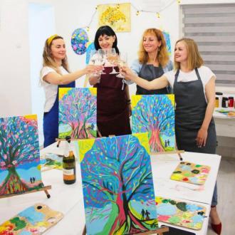 постер Арт-вечірка з малювання з вином